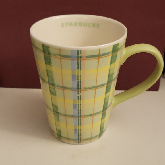 Starbucks 2006 Green Yellow Plaid Coffee Cup
